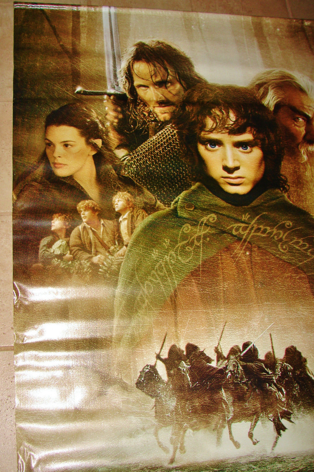 2001 LOTR FELLOWSHIP OF THE RING Vinyl Movie Theater Lobby Banner 48x70 (20)