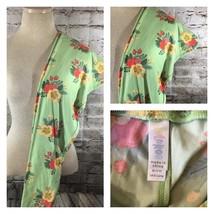 LuLaRoe Leggings Mint Green Floral Pink Yellow Tall Curvy TC LLR - $19.77