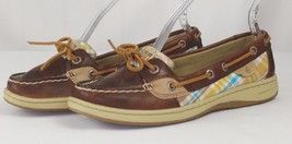 Sperry Top Siders Size 6.5M Angelfish Plaid Blue Yellow Brown Leather Bo... - €33,66 EUR