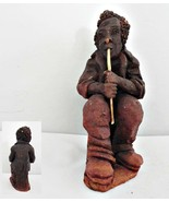 Musician Red Clay Figurine Playing a Wind Instrument - $18.69