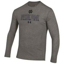 Under Armour Mens Notre Dame Fighting Irish HeatGear Gray Long Sleeve T-... - $31.99
