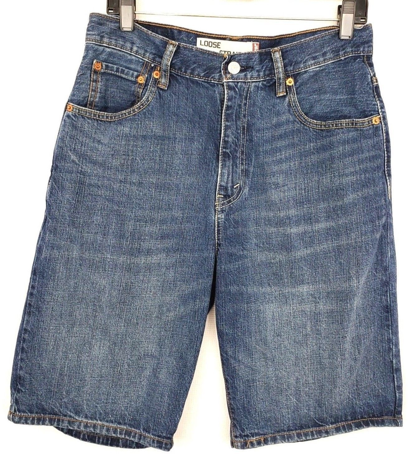 f60d4afe7a3 Levi's 569 Mens Size 30 Waist Loose Straight Fit Blue Jean Shorts - $15.40
