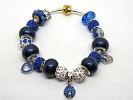 Silver & Blue Disney European Murano Beaded Bracelet. Gift bag included - $19.95