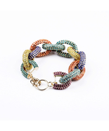 Antique  Crystal Round Circle Crude Statement Bracelet for Women Accesso... - $46.65