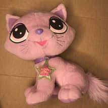 "Mattel Diva Starz FLUFFY CAT Talking Interactive Pink Purple 8"" Plush 2001 - $27.50"