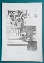 ROME Temple of Octavius Capital Detail - SUPERB 1905 Espouy Heliogravure... - $29.70
