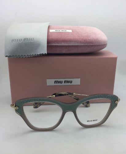 5e2b8ccaa254 MIU MIU Eyeglasses VMU 07O U6S-1O1 52-17 Gold Grey   Teal Leather