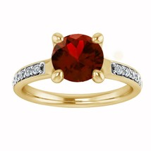 1.25 Carat Round Cut Red Garnet 18K Yellow Gold Fn Solitaire Engagement ... - $76.89