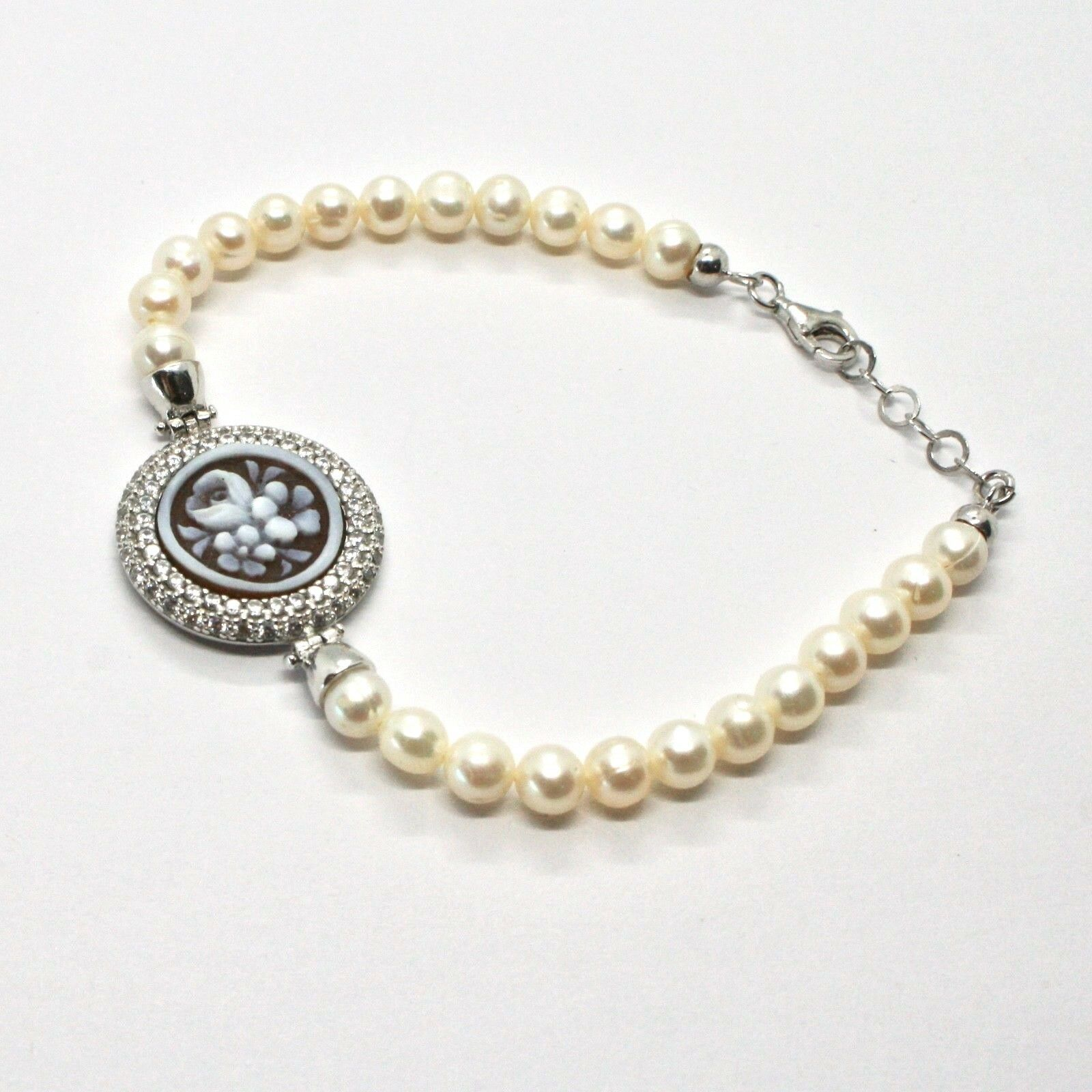 Pulsera de Plata 925 con Perlas de Agua Dulce Camafeo Camafeo Zirconia Cúbicos