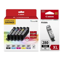 """Genuine Canon CLI-281 5-Color Ink Tank Combo Pack with 5 x 5"""" Photo Paper (2091C - $153.99"""