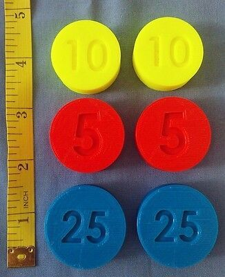 LOT 6 Replacement Coins compatible Fisher Price Cash Register 926 & 1975 - 2011