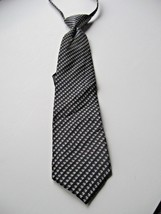 Boys Adjustable Tie Young Mans Black Pattern Stanley Blacker Zipper Silk... - $10.69