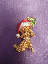 Mylu Christmas Santa Hat Dog Goldtone Brooch Pin Poodle Rhinestones Holly - $24.75