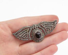 925 Sterling Silver - Vintage Black Onyx & Marcasite Wings Brooch Pin - ... - $30.22