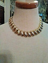 Vintage Chain Necklace Golden Finish Squiggly Textured Links + Dangle Earrings - $50.00