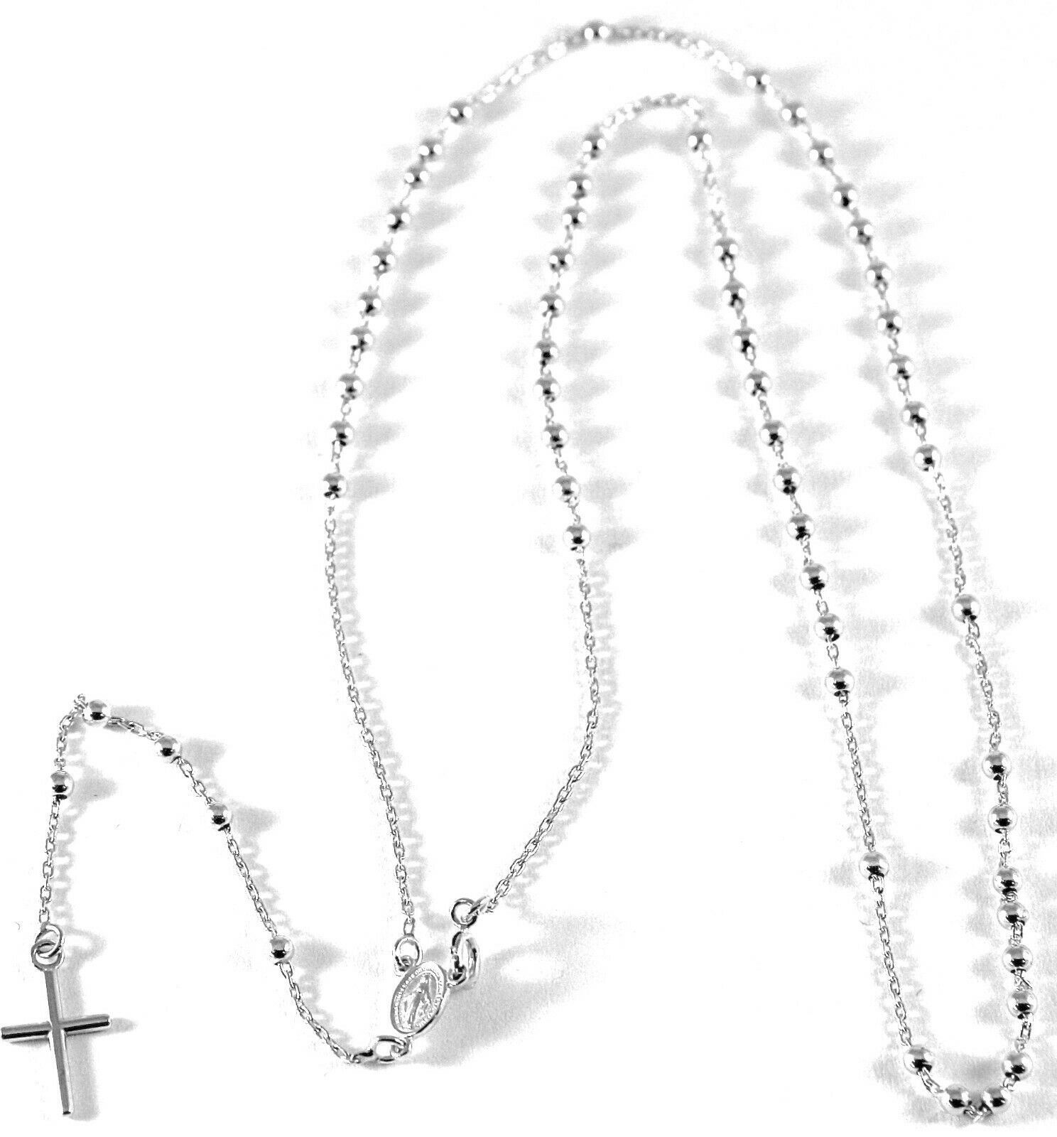 !8k white gold Necklace Rosary White Gold 750 Medal Miraculous and Cross