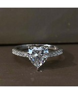 2.7Ct Heart Cut Cante 8 mm Lab Diamond Engagement Ring 925 Sterling Silver - $73.71