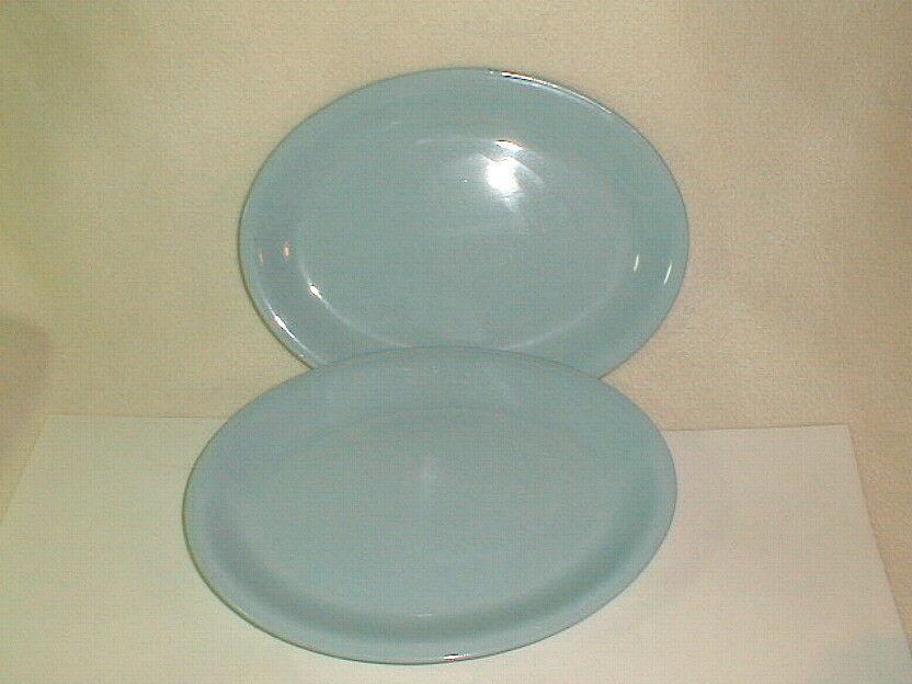 Mid Century homer laughlin skytone oval serving plates blue 1950's retaro