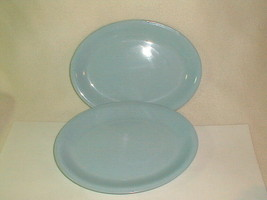 Mid Century homer laughlin skytone oval serving plates blue 1950's retaro - $28.00