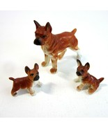 Vintage Mini Bone China Boxer Dog 3 Pc Set - Mom and Two Puppies Figurines - $13.99