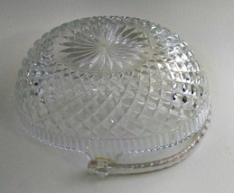Hoya Lead Crystal Glass Basket w/ Plastic Handle 1960's Vintage image 2