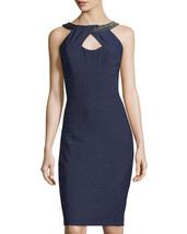 JAX WOMENS Embellished-Neck Sleeveless Sheath Dress NAVY 6 - $29.70