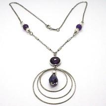 Halskette Silber 925, Amethyst Violet, Triple Kreis Anhänger, Arbeitete - $110.86