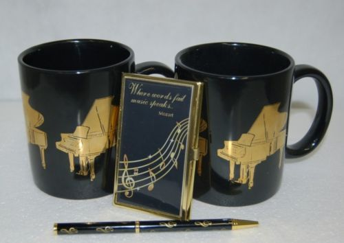 Musical Gift Set 2 Coffee Mugs Ball Point Pen Business Card Holder Black Gold