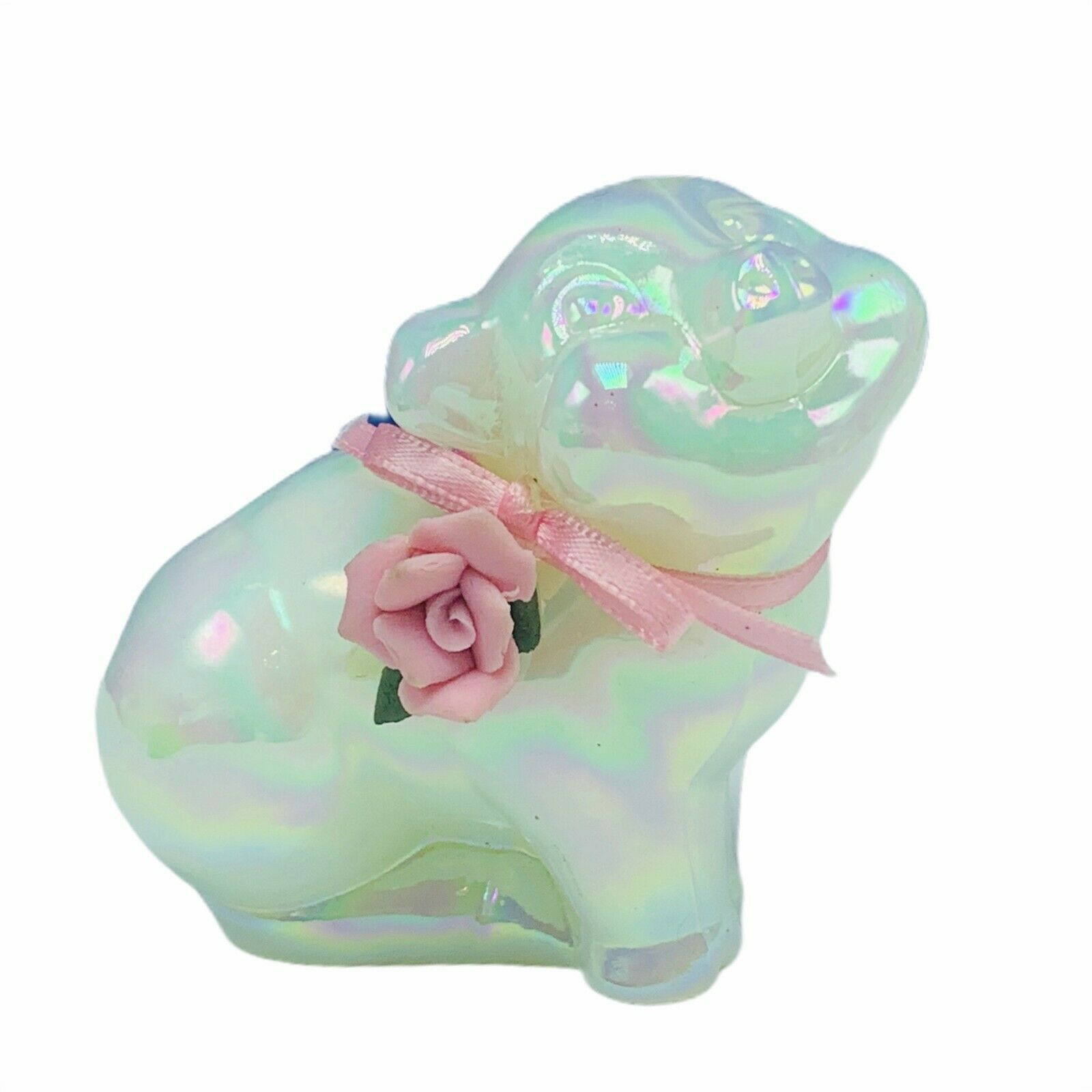 Primary image for Fenton pig hog piglet glass figurine porcelain pink flower floral opalescent vtg