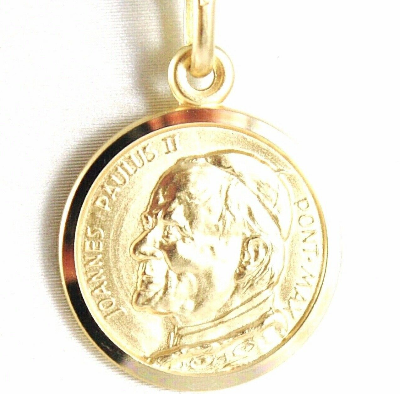 SOLID 18K YELLOW GOLD SAINT POPE JOHN PAUL II, DIAMET. 17 MM MEDAL MADE IN ITALY