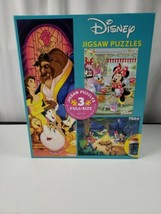 Disney Mickey Minnie Beauty and The Best Jigsaw Puzzle 3 in 1 Pack Glue 2020 New - $18.49