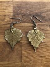 Vintage gold leaves or leaf dangle or drop earrings - $4.95