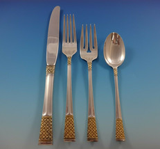 Golden Columbine by Lunt Sterling Silver Flatware Set For 8 Service 32 Pieces - $1,895.00