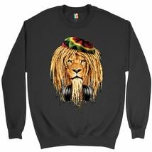 Rasta Lion with Headphones Sweatshirt Jah Jamaica Reggae 420 Culture Cre... - $20.23+
