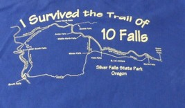 I Survived the Trail of 10 Falls Oregon Silver Falls Souvenir Tee Navy S... - $14.99