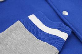 Men's Fleece Varsity Sweatshirt Letterman Sports Raglan Button Up Hoodie Jacket image 10