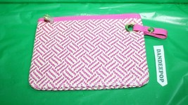 Women's Estee Lauder Pink Woven Pattern Cosmetic Bag Makeup Accessory - $13.85