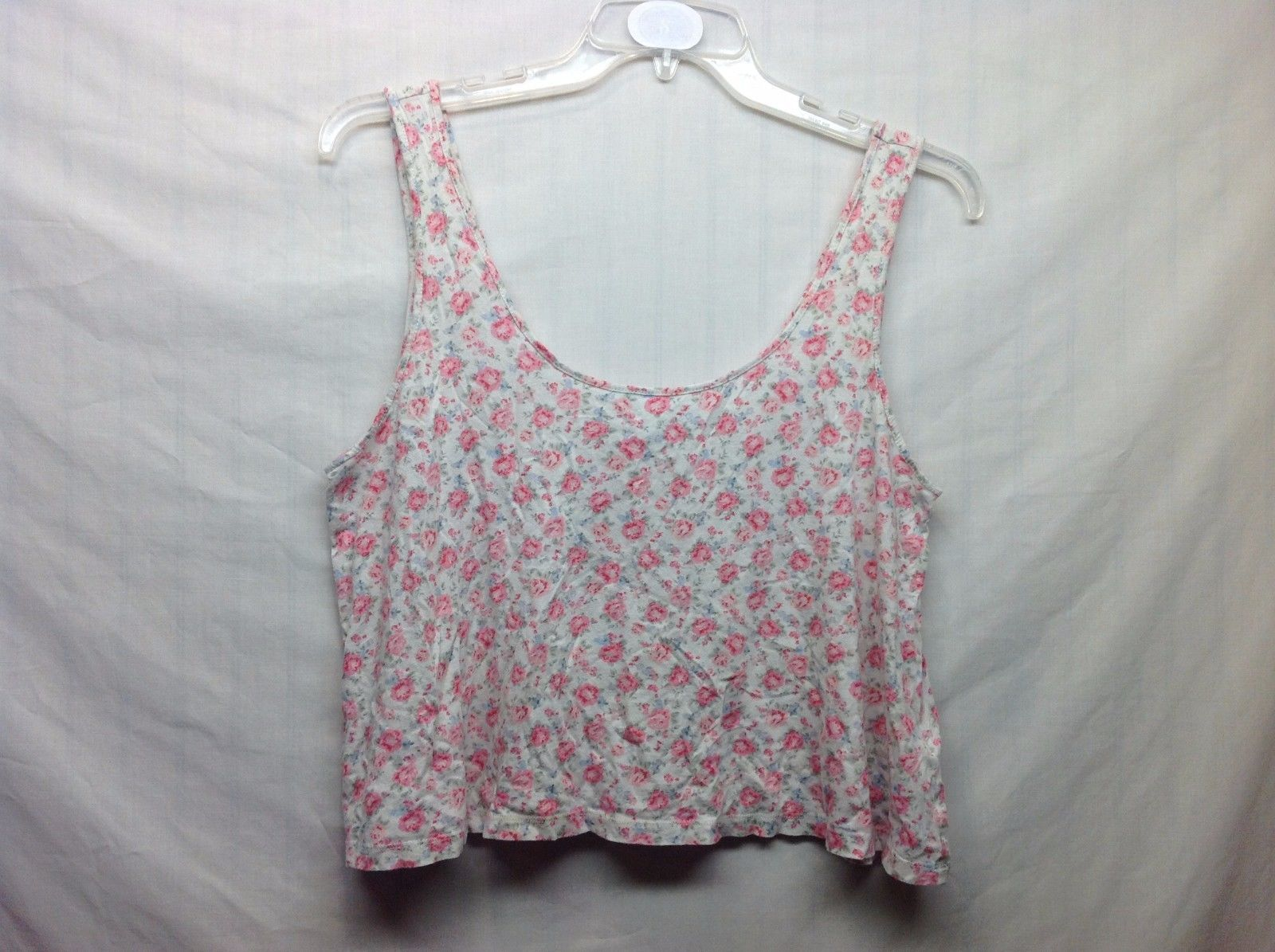 Forever 21 White Pink Floral Sleeveless Crop Top Sz LG