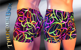 Thunderbox Nylon Spandex Mens Womens 80's Electric Print Titan Shorts   - $20.00