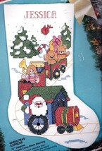 Bucilla Christmas Express Santa Train Stamped Cross Stitch Stocking Kit 83054 - $52.95