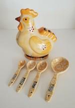 Rooster Chicken Measuring Spoon Holder 4 Spoons Ceramic Temp-Tations Tara   - $25.99