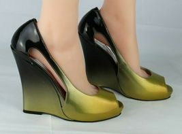 Jessica Simpson pensly women's wedge heels shoes green open toe size 10B image 6