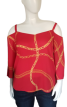 Bold Elements Cold Shoulder Blouse Size XL in Red image 1