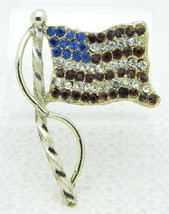 Vintage Red White Blue Rhinestone Patriotic American Flag Brooch Pin (B) - $19.80