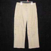 Ann Taylor LOFT Khaki Tan Beige Marisa Roll Up Crop Cargo Pants Capris W... - $19.75