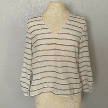 Cynthia Rowley Blouse Women's Medium White Gold Stripes 3/4 Sleeves  - $14.03