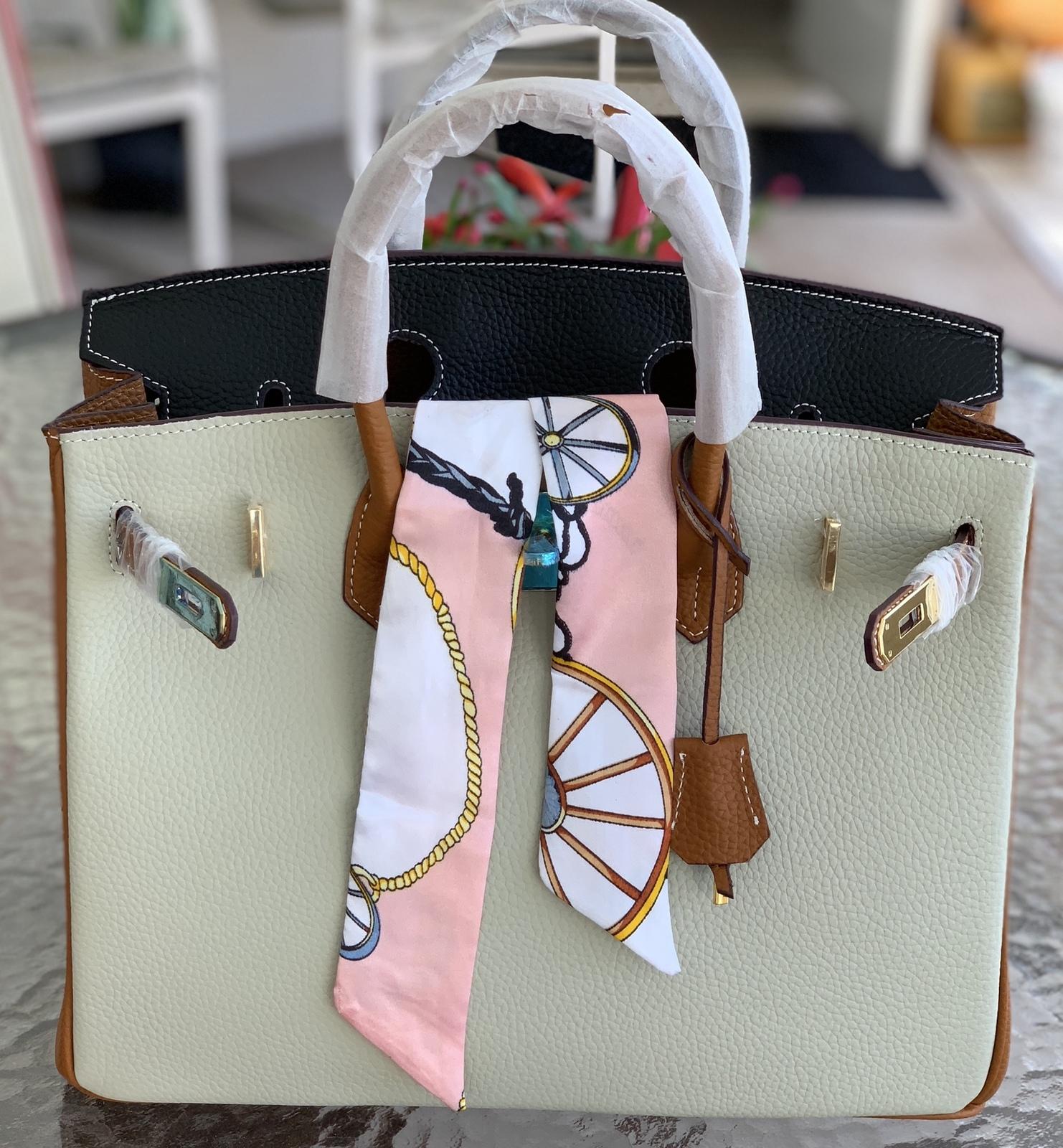 25cm Color Block Pebbled Italian Leather Birkin Style Lock Satchel Handbag1998S