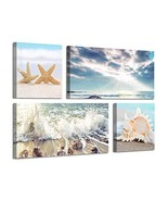 Beach Scene Picture Wall Art: Coastal Seashell & Starfish Artwork Painti... - $58.55