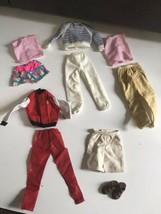 Vtg Mattel Ken Doll Clothing Outfits Pants, red Jacket Shirt, brown Sandals  lot - $24.70