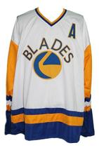 Custom Name # Saskatoon Blades Retro Hockey Jersey Kelly Chase White Any Size image 1